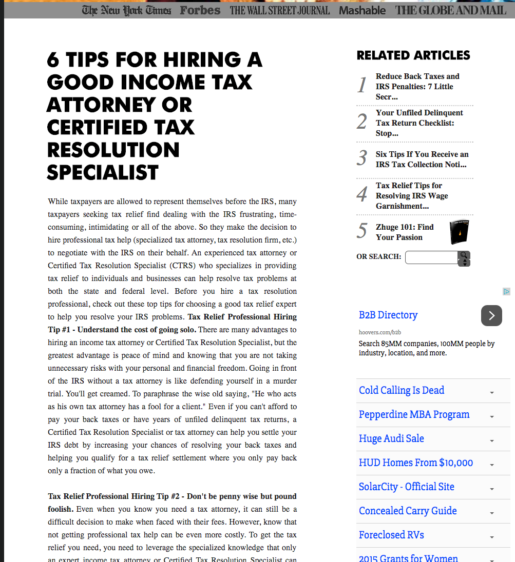 6 Tips for Hiring a Good Income Tax Attorney or Certified Tax Resolution Specialist